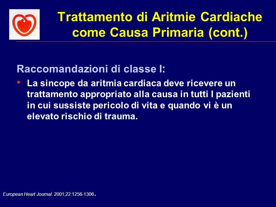 European Heart Journal. 2001;22:1256-1306. Trattamento di Aritmie Cardiache come Causa Primaria (cont.) Raccomandazioni di classe I : La sincope da ar