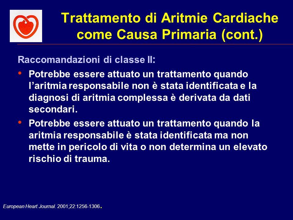 European Heart Journal. 2001;22:1256-1306. Trattamento di Aritmie Cardiache come Causa Primaria (cont.) Raccomandazioni di classe II : Potrebbe essere
