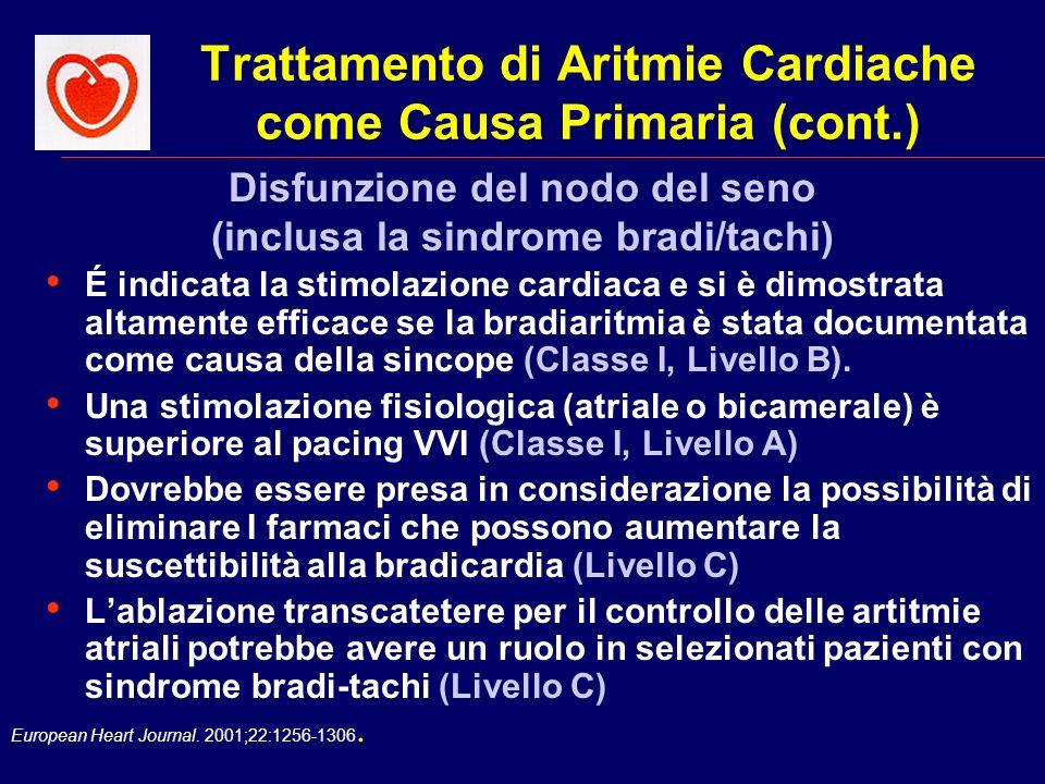 European Heart Journal. 2001;22:1256-1306. Trattamento di Aritmie Cardiache come Causa Primaria (cont.) É indicata la stimolazione cardiaca e si è dim