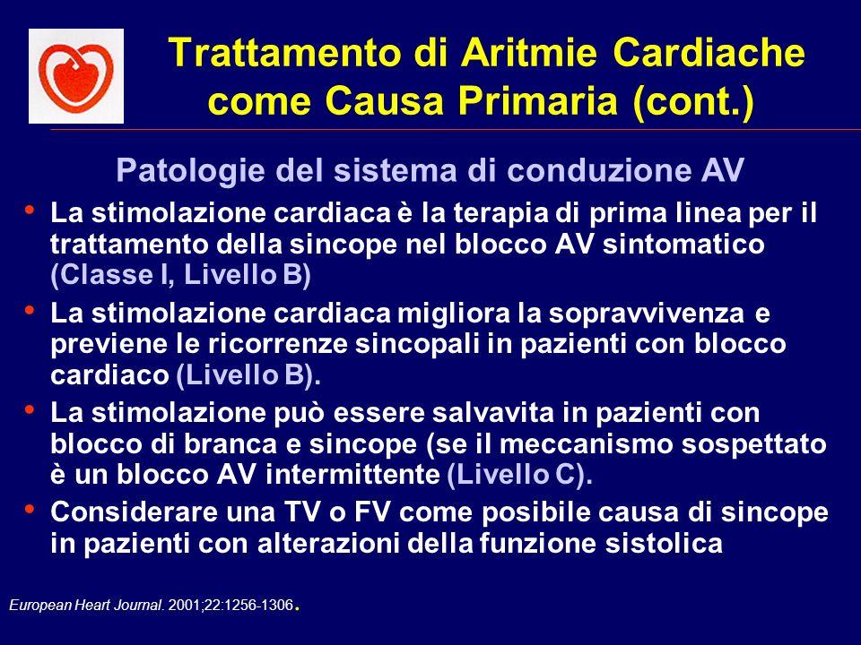European Heart Journal. 2001;22:1256-1306. Trattamento di Aritmie Cardiache come Causa Primaria (cont.) La stimolazione cardiaca è la terapia di prima
