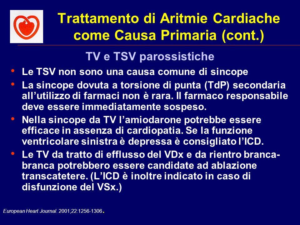European Heart Journal. 2001;22:1256-1306. Trattamento di Aritmie Cardiache come Causa Primaria (cont.) Le TSV non sono una causa comune di sincope La