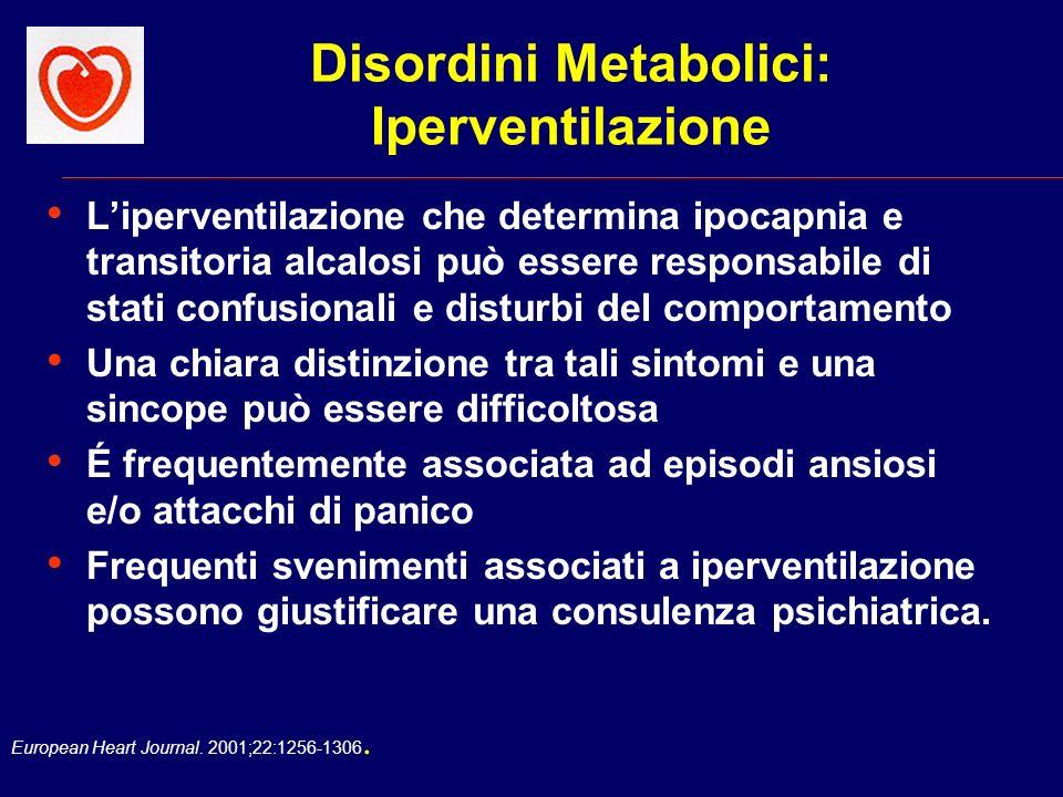 European Heart Journal. 2001;22:1256-1306. Disordini Metabolici: Iperventilazione Liperventilazione che determina ipocapnia e transitoria alcalosi può