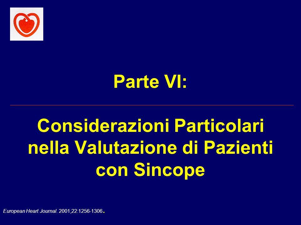 European Heart Journal. 2001;22:1256-1306. Parte VI: Considerazioni Particolari nella Valutazione di Pazienti con Sincope