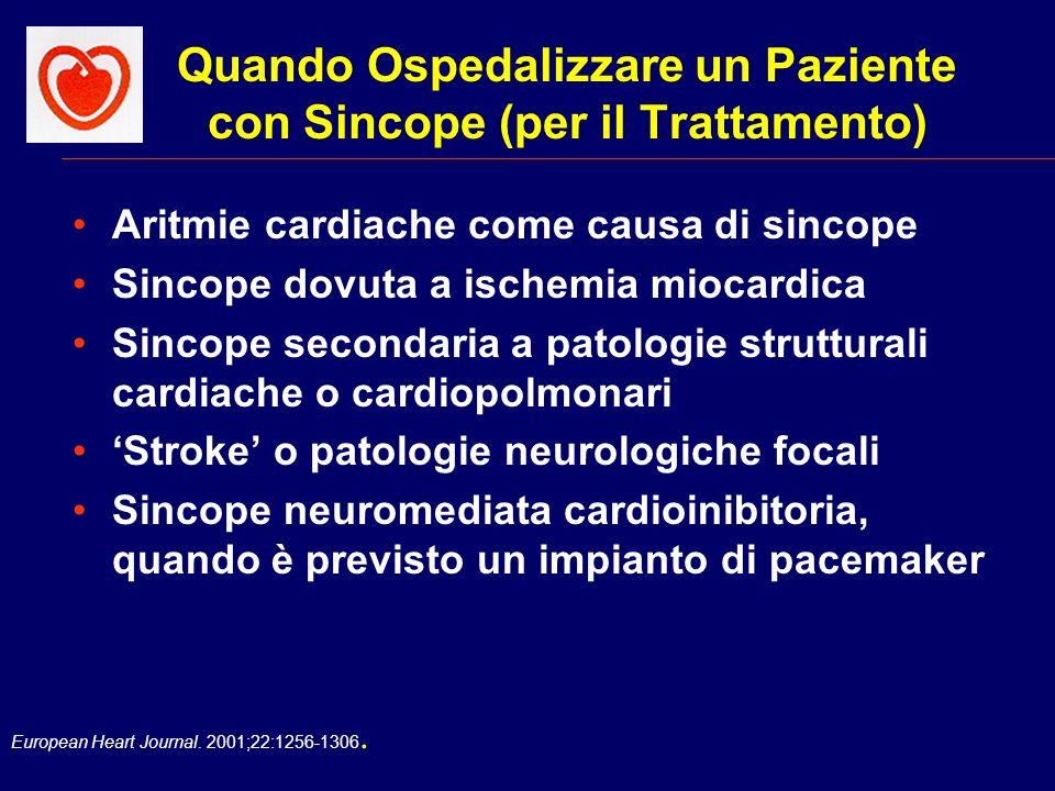 European Heart Journal. 2001;22:1256-1306. Quando Ospedalizzare un Paziente con Sincope (per il Trattamento) Aritmie cardiache come causa di sincope S