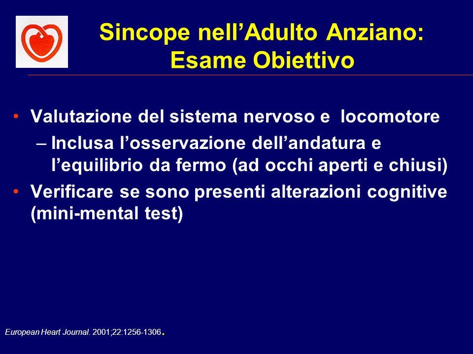 European Heart Journal. 2001;22:1256-1306. Sincope nellAdulto Anziano: Esame Obiettivo Valutazione del sistema nervoso e locomotore –Inclusa losservaz