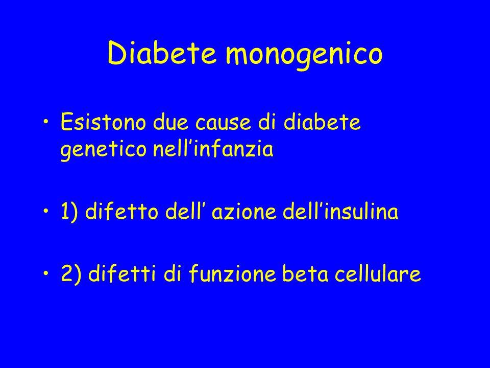 Diabete monogenico Esistono due cause di diabete genetico nellinfanzia 1) difetto dell azione dellinsulina 2) difetti di funzione beta cellulare