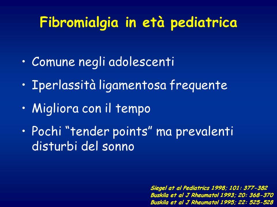 Fibromialgia in età pediatrica Comune negli adolescenti Iperlassità ligamentosa frequente Migliora con il tempo Pochi tender points ma prevalenti dist