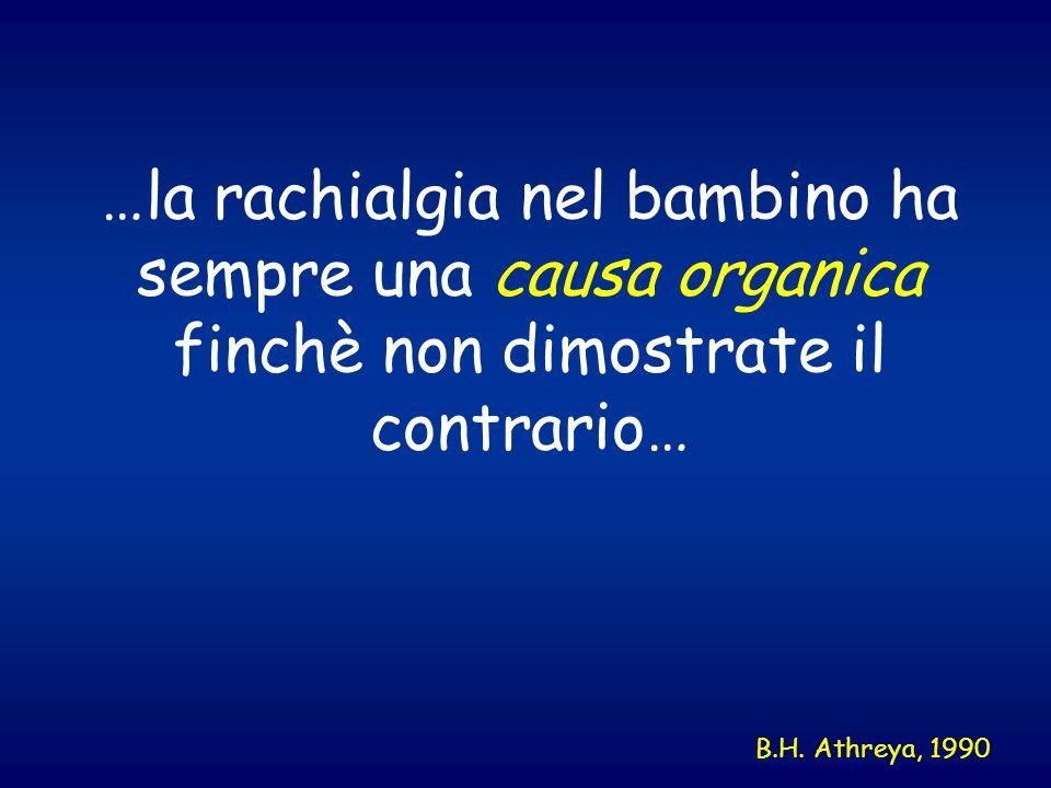 …la rachialgia nel bambino ha sempre una causa organica finchè non dimostrate il contrario… B.H. Athreya, 1990