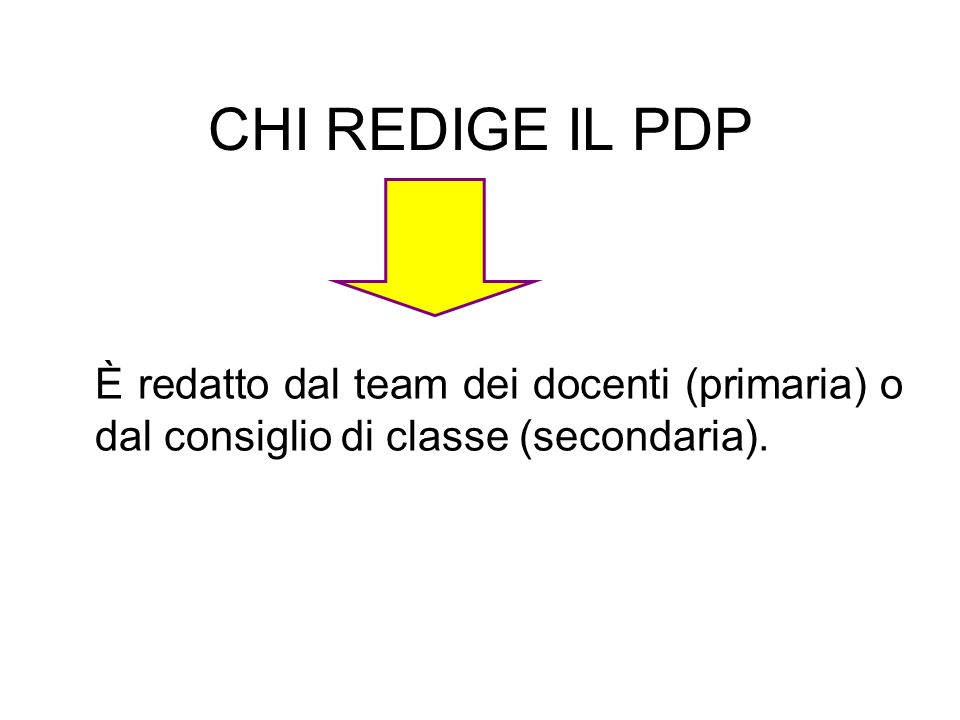 È redatto dal team dei docenti (primaria) o dal consiglio di classe (secondaria). CHI REDIGE IL PDP