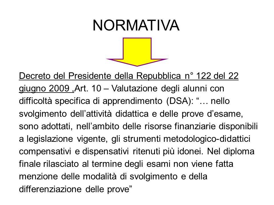 NORMATIVA Decreto del Presidente della Repubblica n° 122 del 22 giugno 2009,Art.