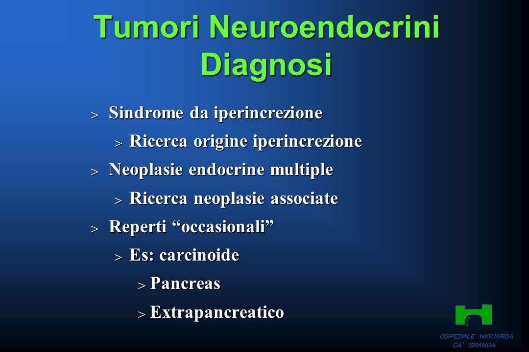 Tumori Neuroendocrini Diagnosi Sindrome da iperincrezione Sindrome da iperincrezione Ricerca origine iperincrezione Ricerca origine iperincrezione Neo