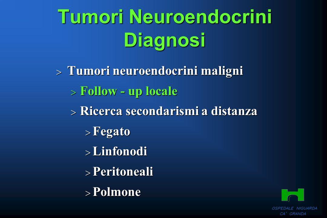 Tumori Neuroendocrini Diagnosi Tumori neuroendocrini maligni Tumori neuroendocrini maligni Follow - up locale Follow - up locale Ricerca secondarismi