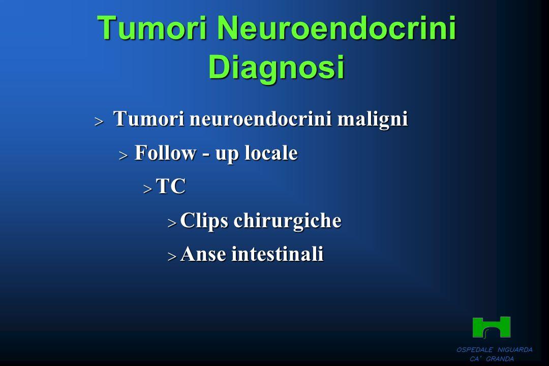 Tumori Neuroendocrini Diagnosi Tumori neuroendocrini maligni Tumori neuroendocrini maligni Follow - up locale Follow - up locale TC TC Clips chirurgic