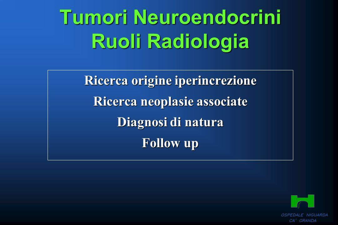 Tumori Neuroendocrini Ruoli Radiologia Ricerca origine iperincrezione Ricerca neoplasie associate Diagnosi di natura Follow up
