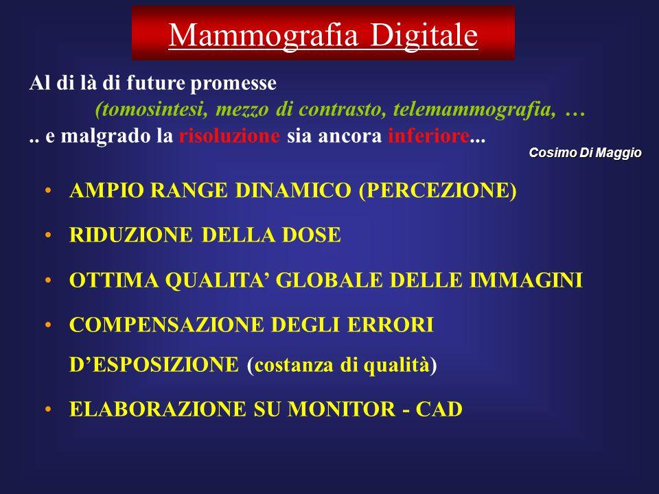 Mammografia Digitale AMPIO RANGE DINAMICO (PERCEZIONE) RIDUZIONE DELLA DOSE OTTIMA QUALITA GLOBALE DELLE IMMAGINI COMPENSAZIONE DEGLI ERRORI DESPOSIZI