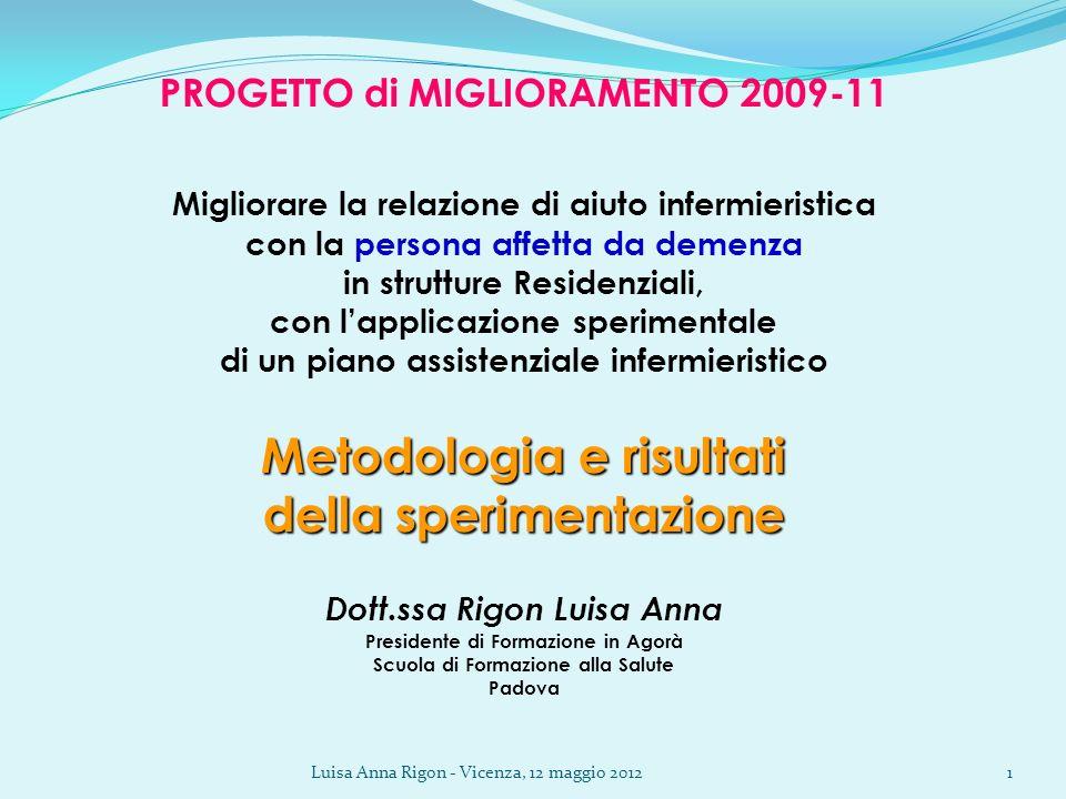 Luisa Anna Rigon - Vicenza, 12 maggio 20121 PROGETTO di MIGLIORAMENTO 2009-11 Migliorare la relazione di aiuto infermieristica con la persona affetta