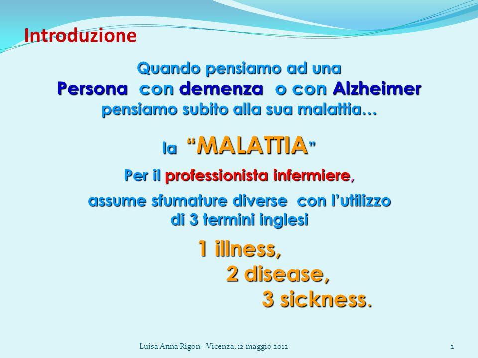 Luisa Anna Rigon - Vicenza, 12 maggio 20122 Introduzione Quando pensiamo ad una Persona con demenza o con Alzheimer pensiamo subito alla sua malattia…