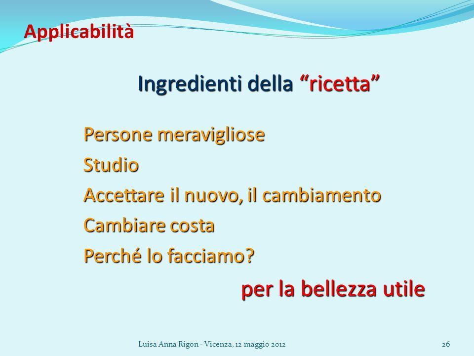 Luisa Anna Rigon - Vicenza, 12 maggio 201226 Applicabilità Ingredienti della ricetta Persone meravigliose Studio Accettare il nuovo, il cambiamento Cambiare costa Perché lo facciamo.