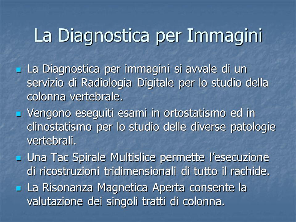 La Diagnostica per Immagini La Diagnostica per immagini si avvale di un servizio di Radiologia Digitale per lo studio della colonna vertebrale. La Dia