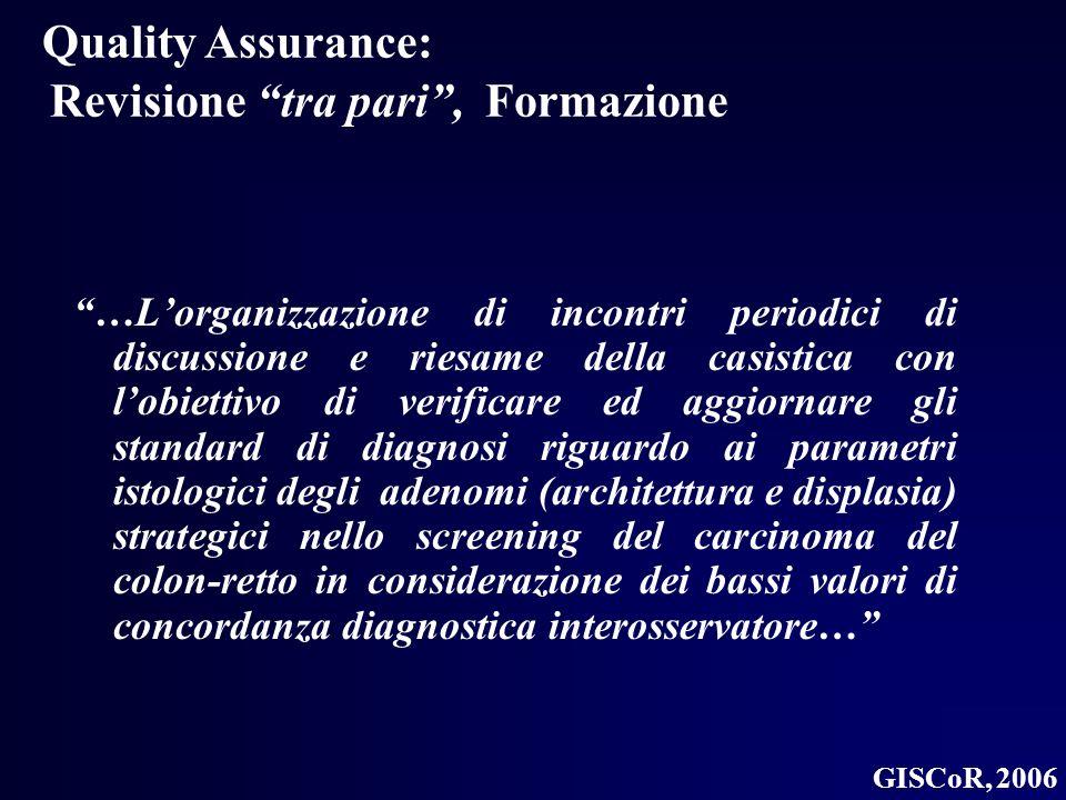 Quality Assurance: Revisione tra pari, Formazione …Lorganizzazione di incontri periodici di discussione e riesame della casistica con lobiettivo di ve