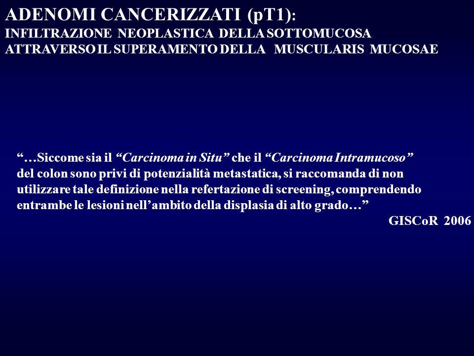 ADENOMI CANCERIZZATI (pT1) : INFILTRAZIONE NEOPLASTICA DELLA SOTTOMUCOSA ATTRAVERSO IL SUPERAMENTO DELLA MUSCULARIS MUCOSAE …Siccome sia il Carcinoma