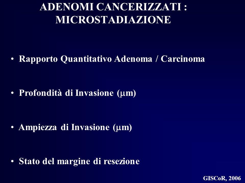 ADENOMI CANCERIZZATI : MICROSTADIAZIONE Rapporto Quantitativo Adenoma / Carcinoma Profondità di Invasione ( m) Ampiezza di Invasione ( m) Stato del ma
