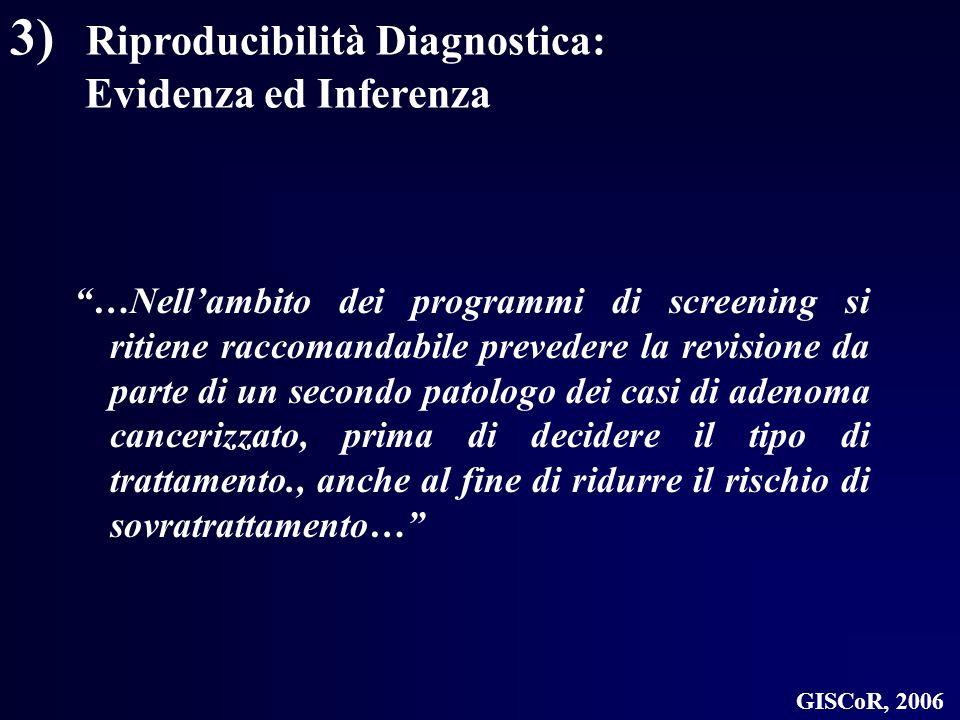 3) Riproducibilità Diagnostica: Evidenza ed Inferenza …Nellambito dei programmi di screening si ritiene raccomandabile prevedere la revisione da parte
