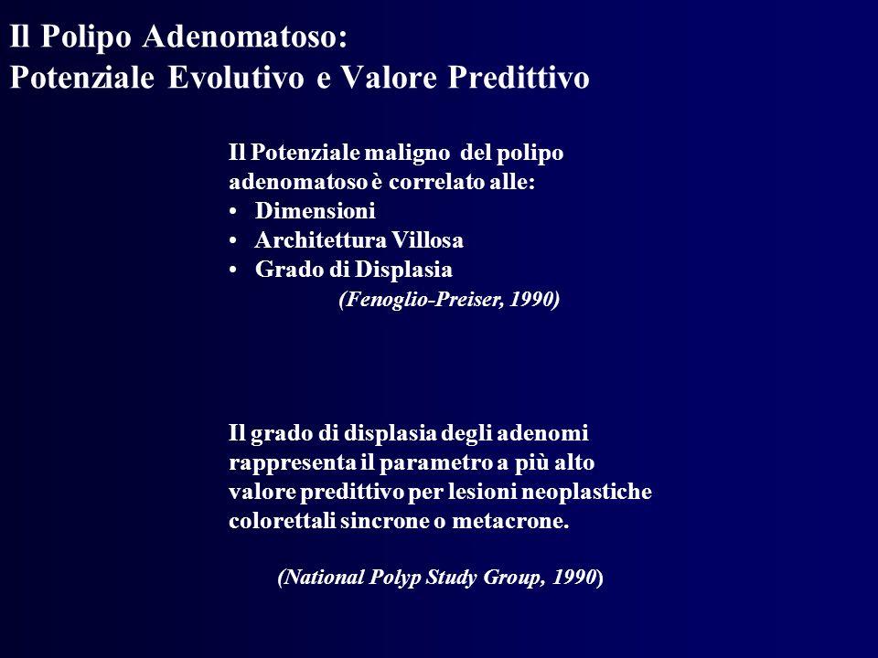 Il Polipo Adenomatoso: Potenziale Evolutivo e Valore Predittivo Il Potenziale maligno del polipo adenomatoso è correlato alle: Dimensioni Architettura