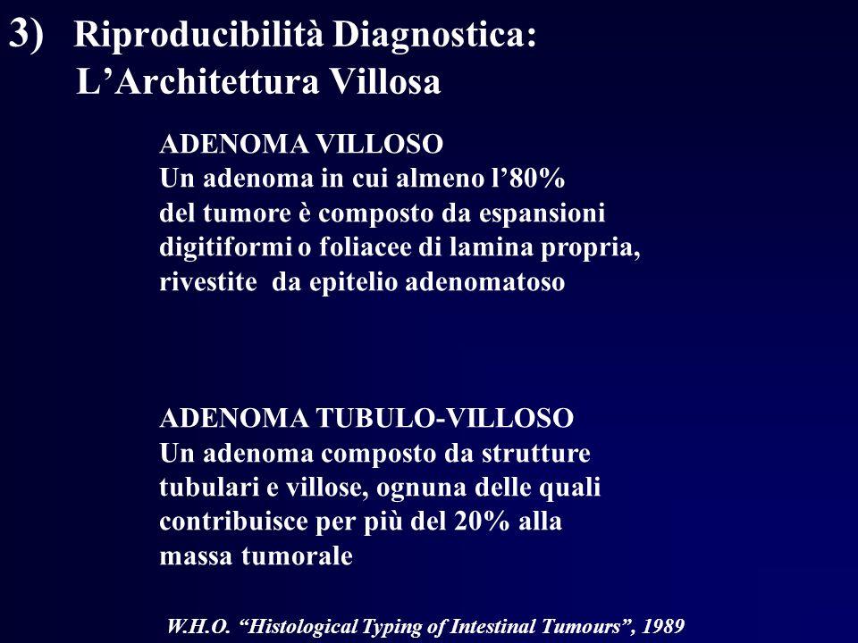 3) Riproducibilità Diagnostica: LArchitettura Villosa ADENOMA VILLOSO Un adenoma in cui almeno l80% del tumore è composto da espansioni digitiformi o