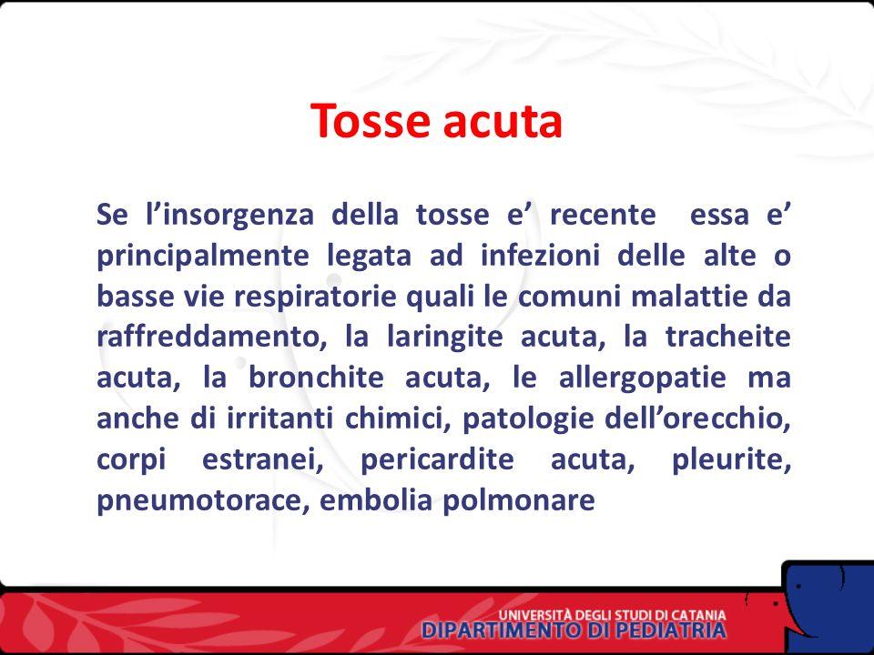 La tosse Tosse acuta Tosse cronica