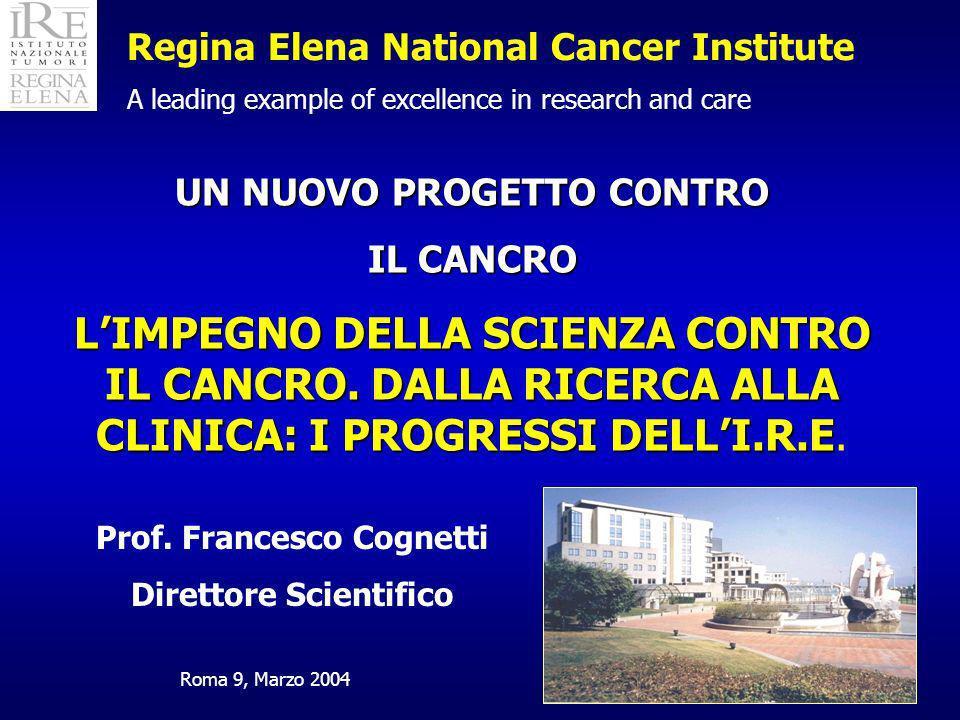 Regina Elena National Cancer Institute A leading example of excellence in research and care Prof. Francesco Cognetti Direttore Scientifico UN NUOVO PR