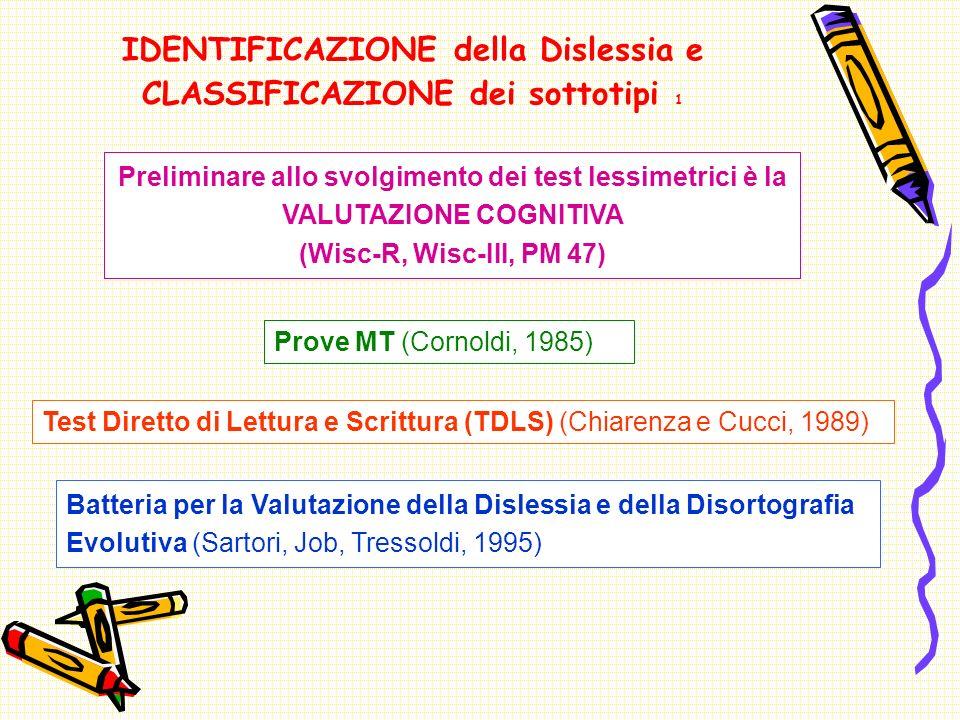 IDENTIFICAZIONE della Dislessia e CLASSIFICAZIONE dei sottotipi 1 Prove MT (Cornoldi, 1985) Test Diretto di Lettura e Scrittura (TDLS) (Chiarenza e Cucci, 1989) Batteria per la Valutazione della Dislessia e della Disortografia Evolutiva (Sartori, Job, Tressoldi, 1995) Preliminare allo svolgimento dei test lessimetrici è la VALUTAZIONE COGNITIVA (Wisc-R, Wisc-III, PM 47)
