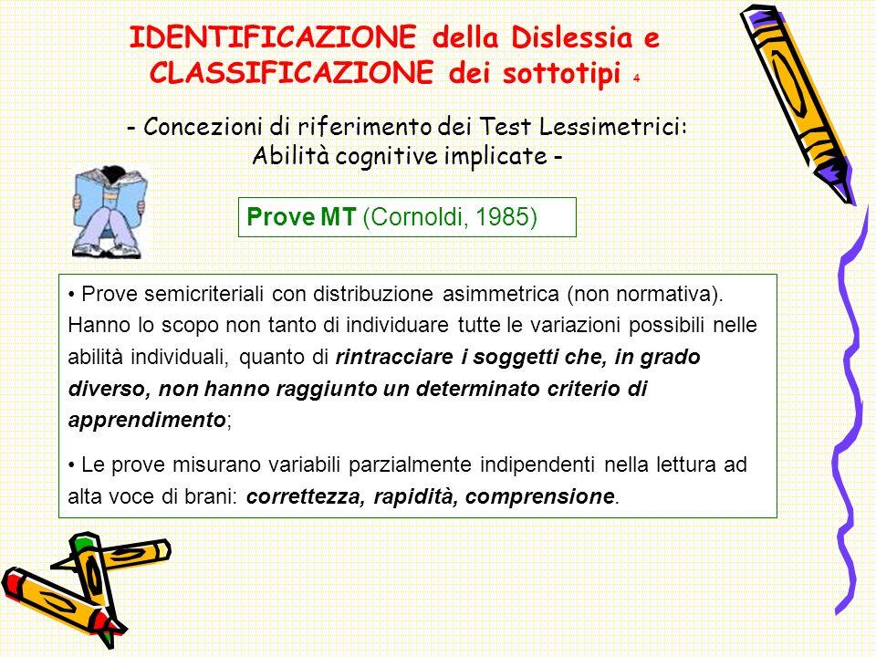 IDENTIFICAZIONE della Dislessia e CLASSIFICAZIONE dei sottotipi 4 Prove MT (Cornoldi, 1985) - Concezioni di riferimento dei Test Lessimetrici: Abilità cognitive implicate - Prove semicriteriali con distribuzione asimmetrica (non normativa).
