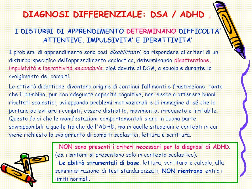 - NON sono presenti i criteri necessari per la diagnosi di ADHD.