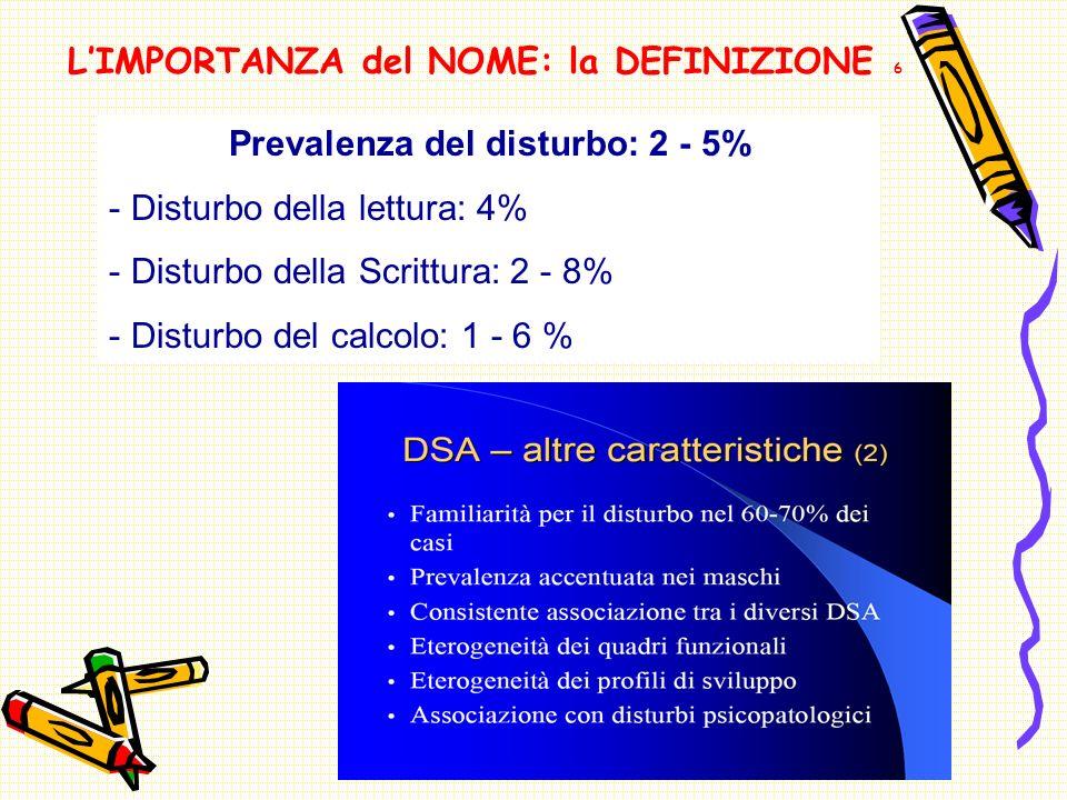 LIMPORTANZA del NOME: la DEFINIZIONE 6 Prevalenza del disturbo: 2 - 5% - Disturbo della lettura: 4% - Disturbo della Scrittura: 2 - 8% - Disturbo del calcolo: 1 - 6 %