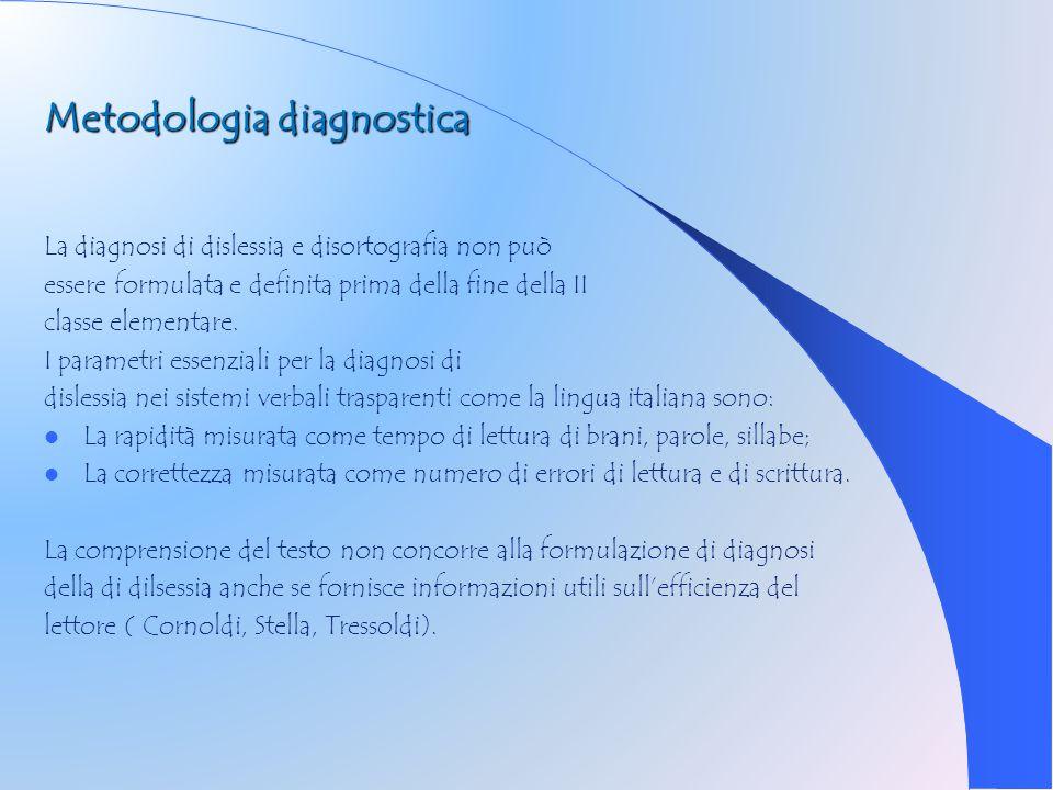 Metodologia diagnostica La diagnosi di dislessia e disortografia non può essere formulata e definita prima della fine della II classe elementare. I pa