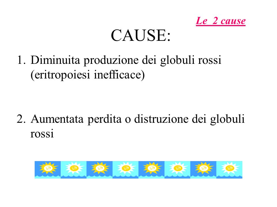 CAUSE: 1.Diminuita produzione dei globuli rossi (eritropoiesi inefficace) 2.Aumentata perdita o distruzione dei globuli rossi Le 2 cause