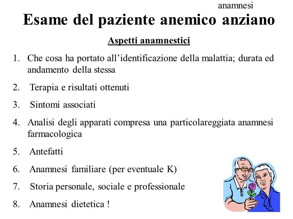 Esame del paziente anemico anziano Aspetti anamnestici 1.Che cosa ha portato allidentificazione della malattia; durata ed andamento della stessa 2. Te