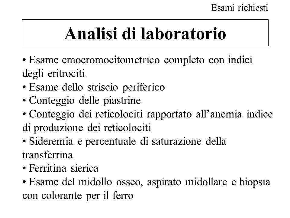 Analisi di laboratorio Esame emocromocitometrico completo con indici degli eritrociti Esame dello striscio periferico Conteggio delle piastrine Conteg
