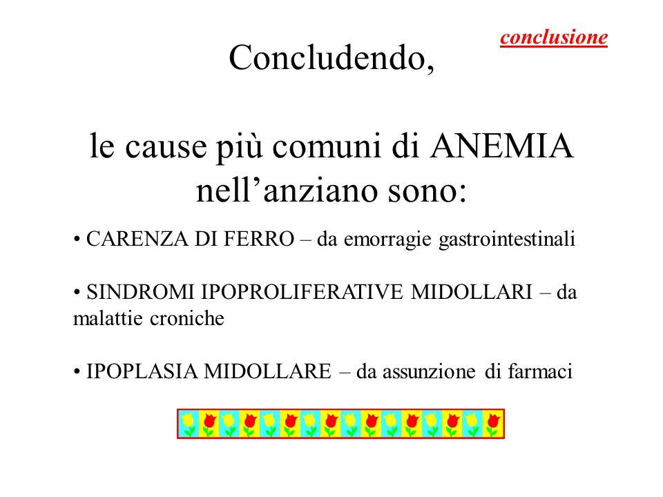 Concludendo, le cause più comuni di ANEMIA nellanziano sono: CARENZA DI FERRO – da emorragie gastrointestinali SINDROMI IPOPROLIFERATIVE MIDOLLARI – d