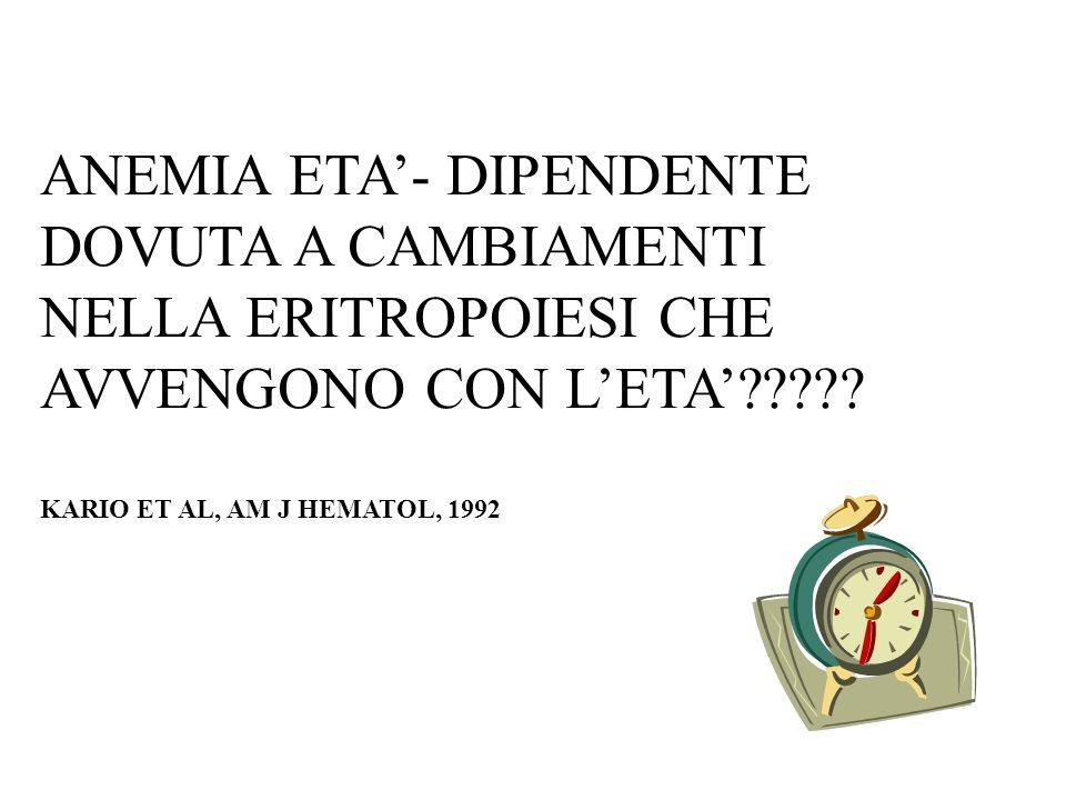 ANEMIA ETA- DIPENDENTE DOVUTA A CAMBIAMENTI NELLA ERITROPOIESI CHE AVVENGONO CON LETA????? KARIO ET AL, AM J HEMATOL, 1992