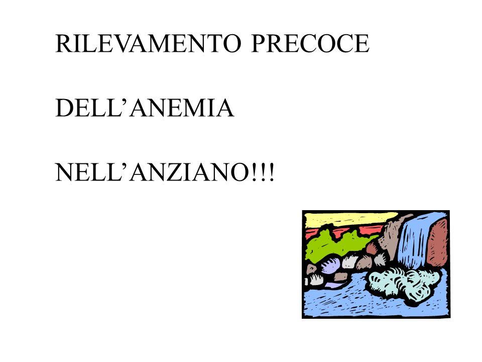 RILEVAMENTO PRECOCE DELLANEMIA NELLANZIANO!!!