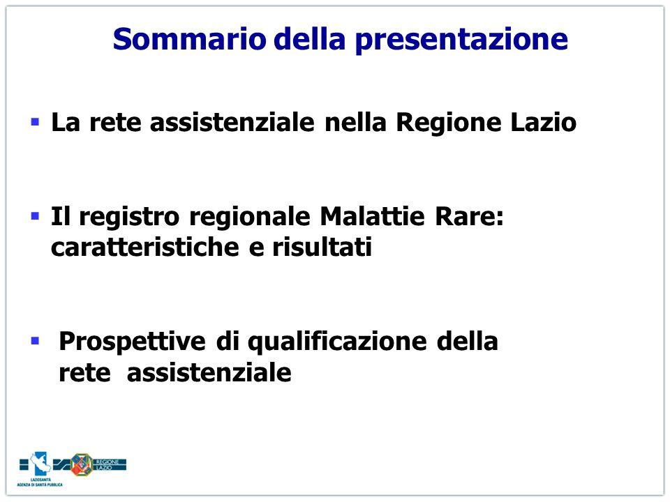 Sommario della presentazione La rete assistenziale nella Regione Lazio Il registro regionale Malattie Rare: caratteristiche e risultati Prospettive di