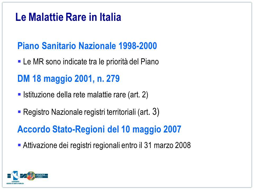 Le Malattie Rare in Italia Piano Sanitario Nazionale 1998-2000 Le MR sono indicate tra le priorità del Piano DM 18 maggio 2001, n. 279 Istituzione del