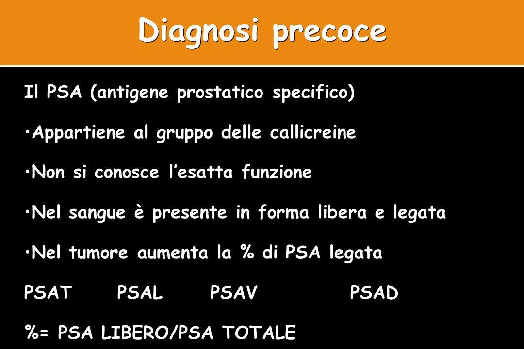 Diagnosi precoce Il PSA (antigene prostatico specifico) Appartiene al gruppo delle callicreine Non si conosce lesatta funzione Nel sangue è presente i