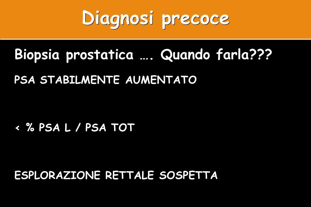 Diagnosi precoce Biopsia prostatica …. Quando farla??? PSA STABILMENTE AUMENTATO < % PSA L / PSA TOT ESPLORAZIONE RETTALE SOSPETTA Biopsia prostatica