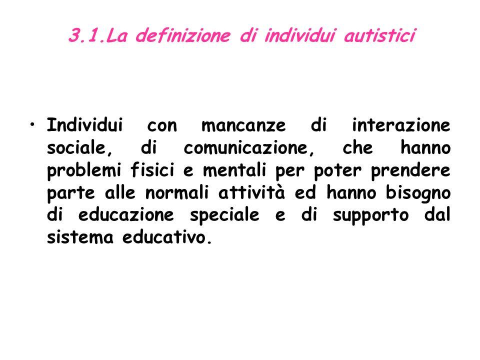 3.1.La definizione di individui autistici Individui con mancanze di interazione sociale, di comunicazione, che hanno problemi fisici e mentali per poter prendere parte alle normali attività ed hanno bisogno di educazione speciale e di supporto dal sistema educativo.