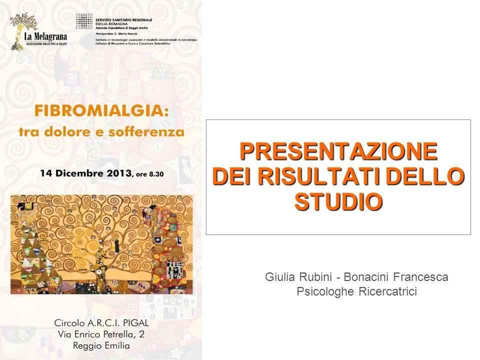PRESENTAZIONE DEI RISULTATI DELLO STUDIO Giulia Rubini - Bonacini Francesca Psicologhe Ricercatrici