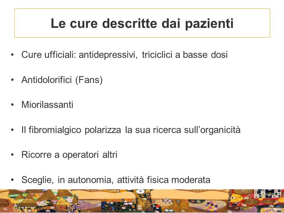 Le cure descritte dai pazienti Cure ufficiali: antidepressivi, triciclici a basse dosi Antidolorifici (Fans) Miorilassanti Il fibromialgico polarizza