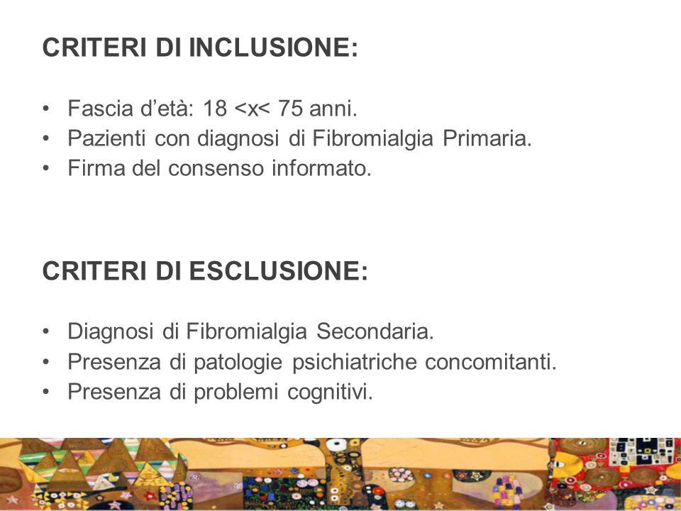 CRITERI DI INCLUSIONE: Fascia detà: 18 <x< 75 anni. Pazienti con diagnosi di Fibromialgia Primaria. Firma del consenso informato. CRITERI DI ESCLUSION